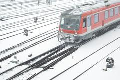 public transportation in winter - stock photo