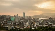 Time Lapse of Cloudy Sunset in Macau Stock Footage