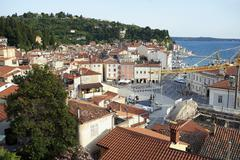 slovenia / piran / day time overview - stock photo
