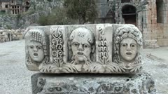 Faces carved in stone Stock Footage