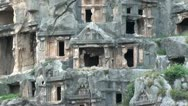 Myra Tombs cut in rock zoom out Stock Footage