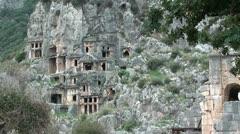 Myra Tombs cut in rock Stock Footage