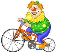 Happy clown riding on a bike. - stock illustration