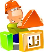 Happy builder building a house Stock Illustration