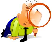Clerk with big magnifying glass - stock illustration
