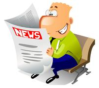 Happy laughing businessman reads the news. - stock illustration