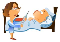 Woman doctor with a thermometer checks up a patient Stock Illustration