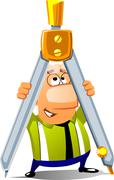 man with a huge dividers - stock illustration