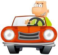 Man driving a car Stock Illustration