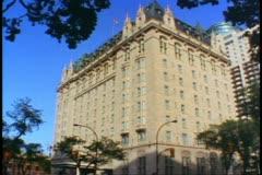 Fort Gary Hotel, Winnipeg, Canada, wide shot, tilt up Stock Footage