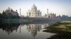 Taj Mahal Above Jamuna River - stock photo