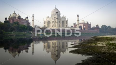 Stock photo of Taj Mahal Above Jamuna River