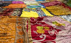 Drying Colorful Saris - stock photo