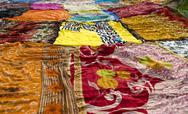Drying Colorful Saris Stock Photos