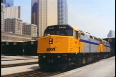 """The Canadian"" train departs Union Station, Toronto, two F40 locomotives Stock Footage"