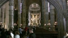 Jeronimos Monastery interior Stock Footage