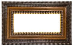 Brown Picture Frame with Path Isolated on a White Background - stock photo