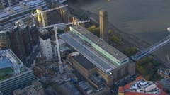 Aerial view of cranes in use at The Tate Modern, London. Stock Footage
