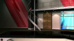 Virtual Set 12 - Left Anchor Newsroom Studio Background Shot - stock footage