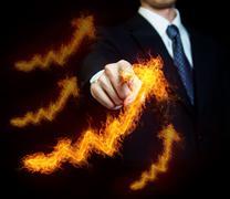 man with fiery arrows - stock photo