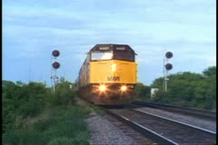 """The Canadian"" train, passby, low, close shot of train rolling by Stock Footage"