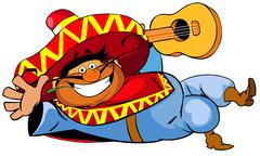 Happy mexican man with a guitar. - stock illustration