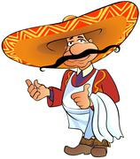 Mexican chief with thumb up. - stock illustration