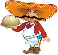 Mexican waiter - stock illustration