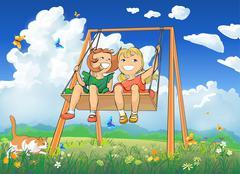 Happy little girls swinging. Stock Illustration
