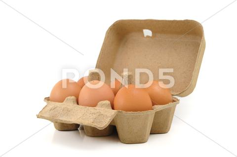 Stock photo of eggs in carton