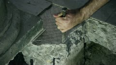 Chiseling Concrete Slab Stock Footage