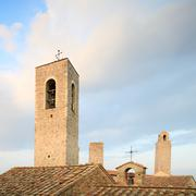 san gimignano, old roof and towers. tuscany, italy, europe. - stock photo