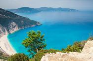 Myrtos beach, kefalonia island, greece Stock Photos
