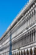 Venice - piazza san marco - facade and arcades of old palazzo Stock Photos