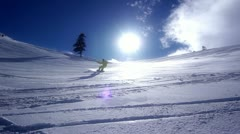 Snowboarder Downhill - stock footage
