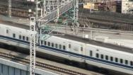 Stock Video Footage of Shinkansen passing, Japan, high speed travel, railways, tracks, transport