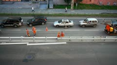 Road construction workers aerial view Stock Footage