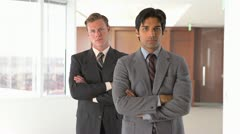 two businessmen standing - stock footage