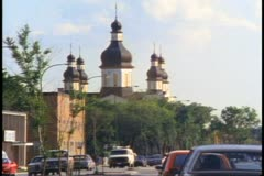 Ukrainian Cathedral, traffic, crushed shot, Winnipeg, Canada, 1990 Stock Footage