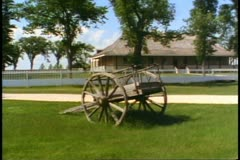 Red River Cart, Old West trading post, no people, Winnipeg, Canada Stock Footage