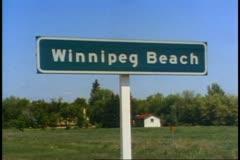 Winnipeg Beach sign, Winnipeg, Canada - stock footage