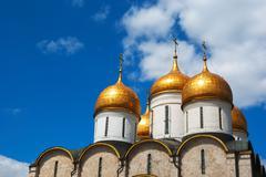 dormition cathedral domes at moscow kremlin - stock photo
