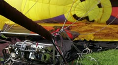 Blowing up hot air balloon close up - stock footage