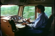 Locomotive cab interior, engineer drives,