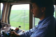 "Locomotive cab interior, face of engineer, ""The Canadian"" train Stock Footage"