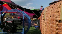 Fan blow up hot air balloon - stock footage