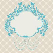 Stock Illustration of vintage frame floral label