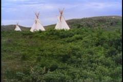 Indian Teepee tent, no people, bleak, Saskatchewan, Canada Stock Footage