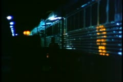Night boarding of the train at Saskatoon, Saskatchewan, flashing light Stock Footage