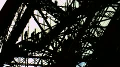 Silhouetted People Eiffel Tower Close Up Stock Footage
